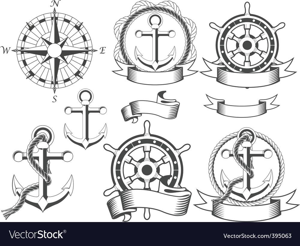Nautical emblems vector image