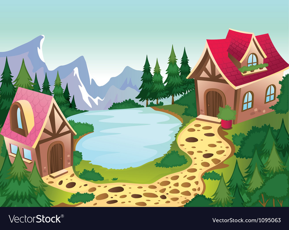 A beautiful house in nature vector image