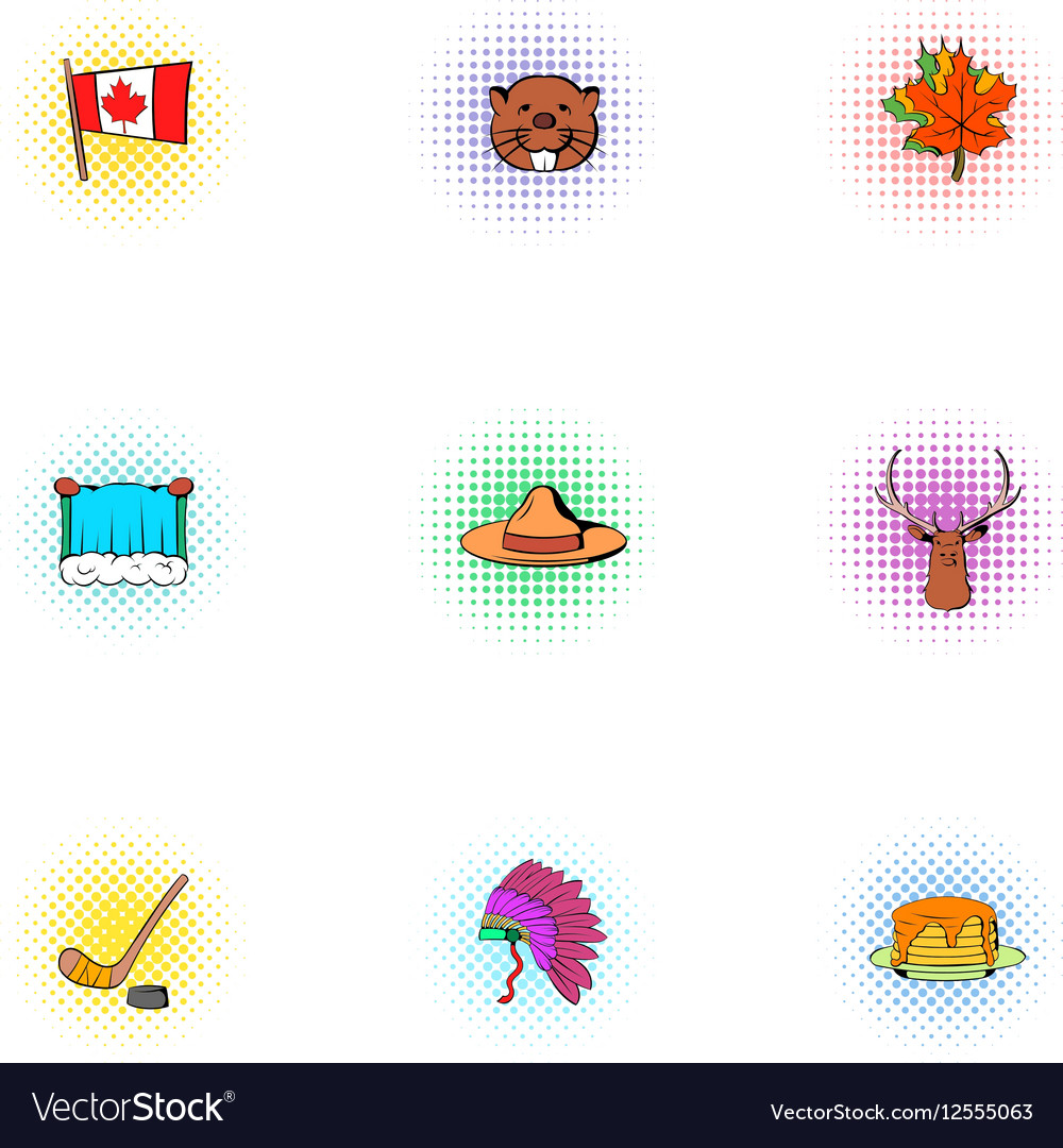 Canada icons set pop-art style vector image