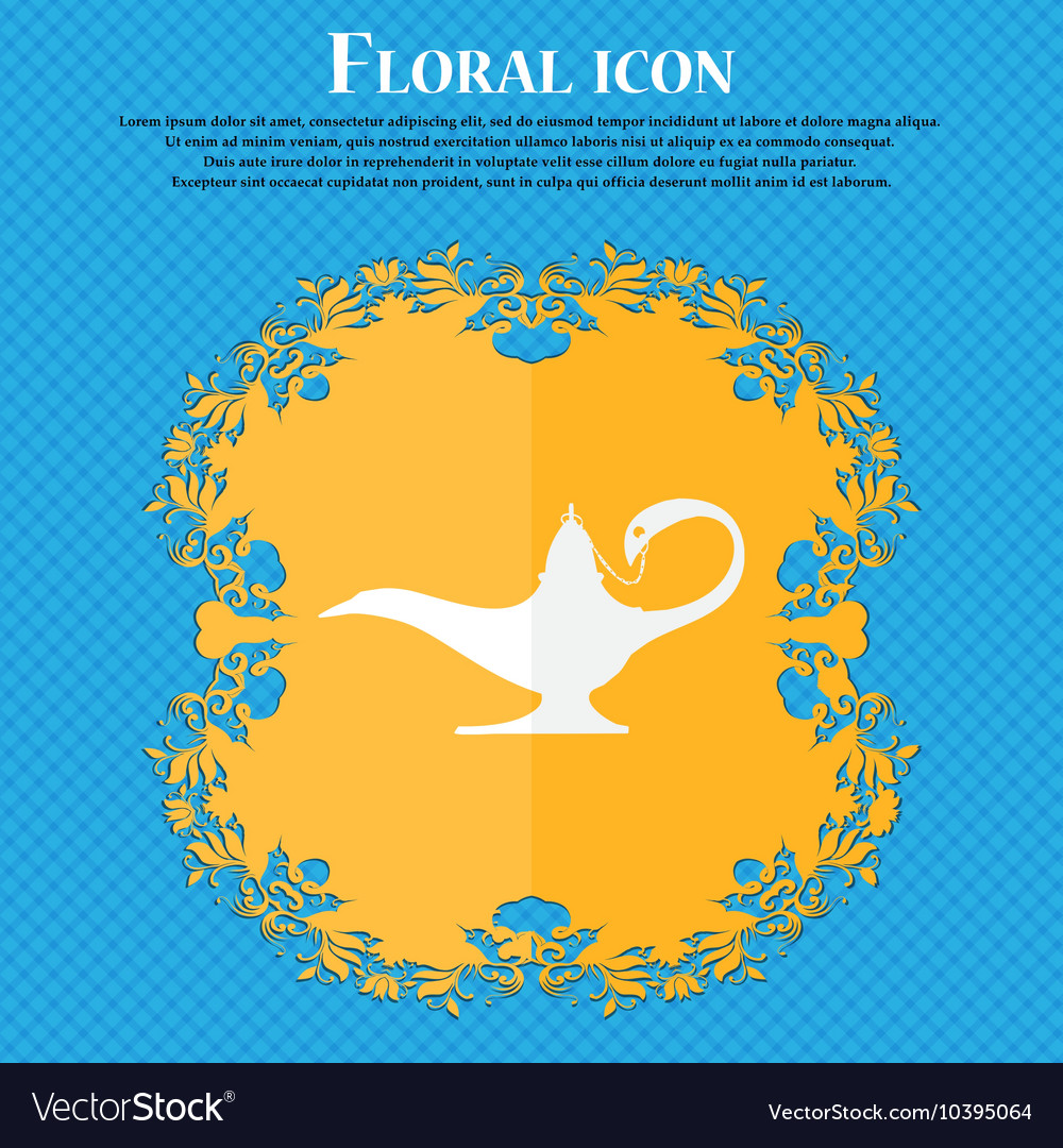 Alladin lamp genie icon Floral flat design on a Vector Image for Genie Icon  21ane
