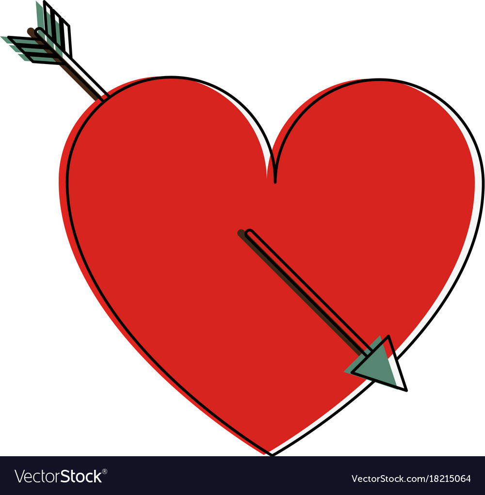how to draw a heart with an arrow