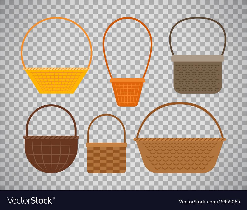 Empty baskets on transparent background vector image