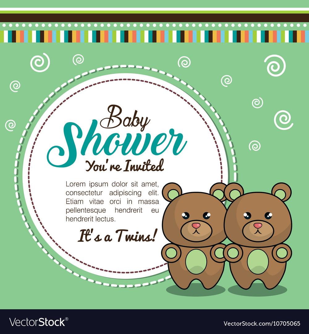 Invitation baby shower twins boy bear royalty free vector invitation baby shower twins boy bear vector image filmwisefo Choice Image