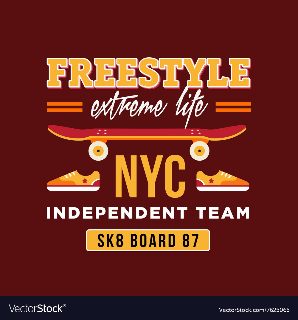 Design a t shirt nyc - Skateboard Graphic Design For T Shirt Nyc Vector Image