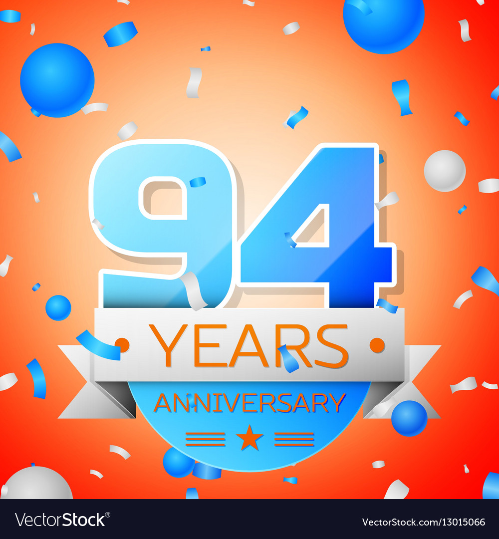 Ninety four years anniversary celebration on vector image