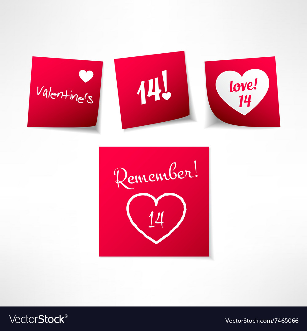 set of valentines day note stickers with vector image