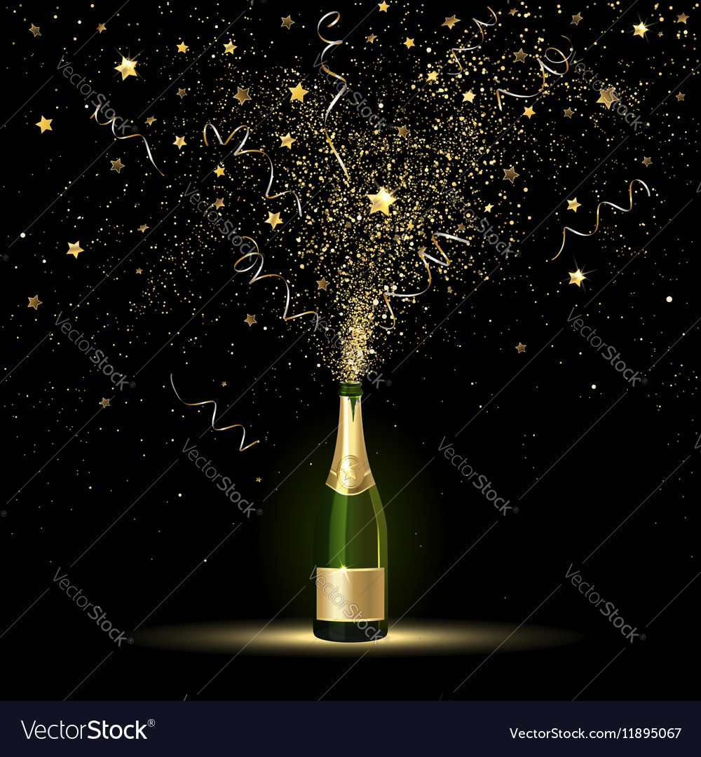 Champagne Gold Confetti Splashes vector image