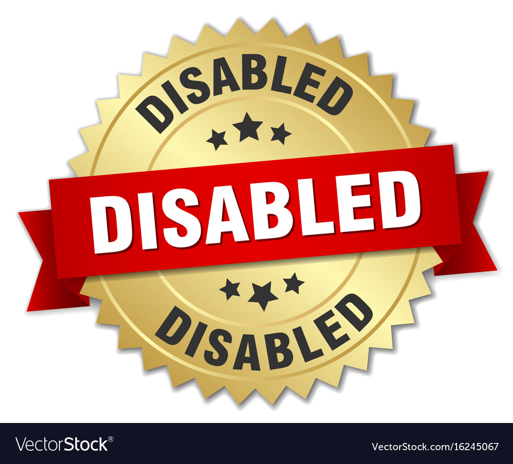 Disabled 3d gold badge with red ribbon vector image