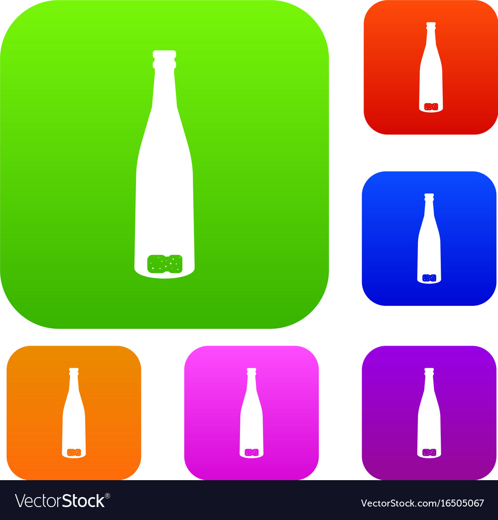 Empty wine bottle set collection vector image