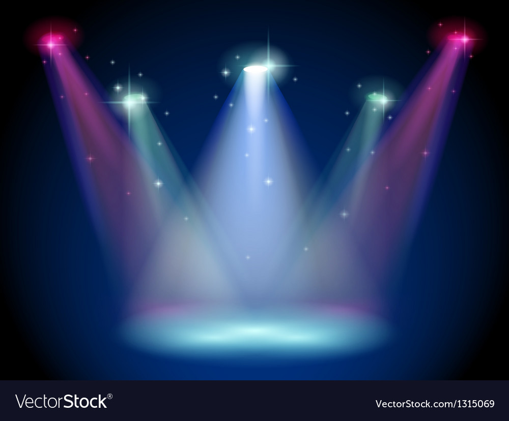 A stage with colorful spotlights Vector Image