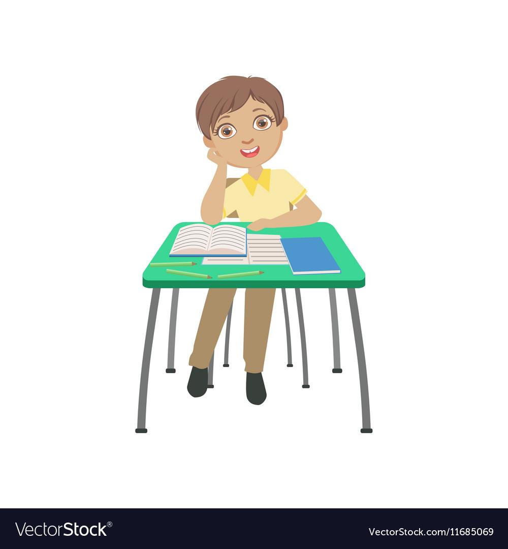 Schoolboy Sitting Behind The Desk In School In vector image