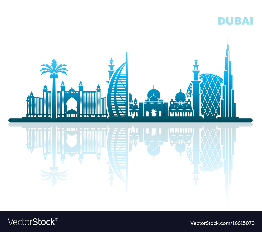 Sights of dubai abstract urban landscape vector image
