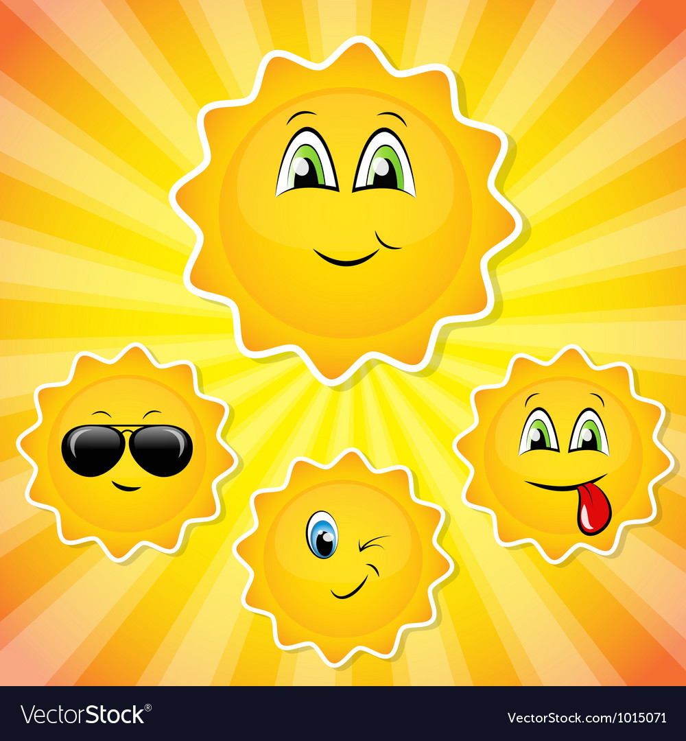 Set of sun smileys vector image