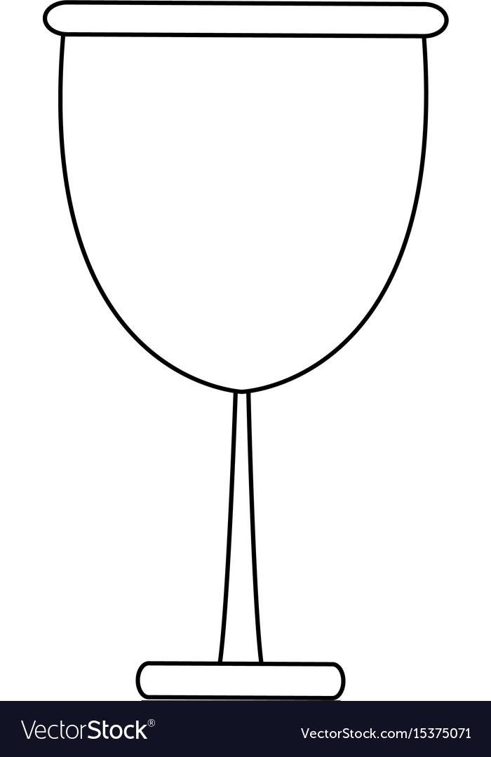 Glass cup beverage wine glassware outline vector image