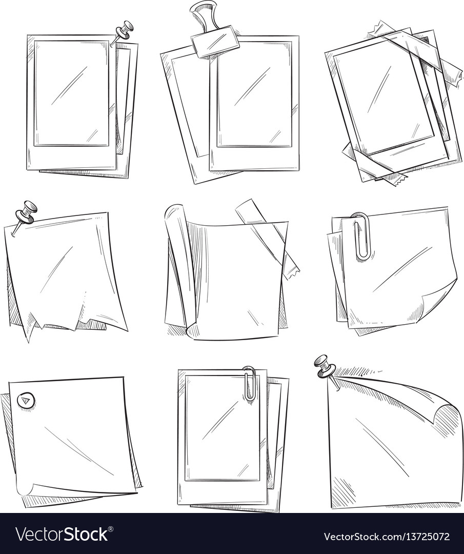 Blank vintage photo frames doodle vector image