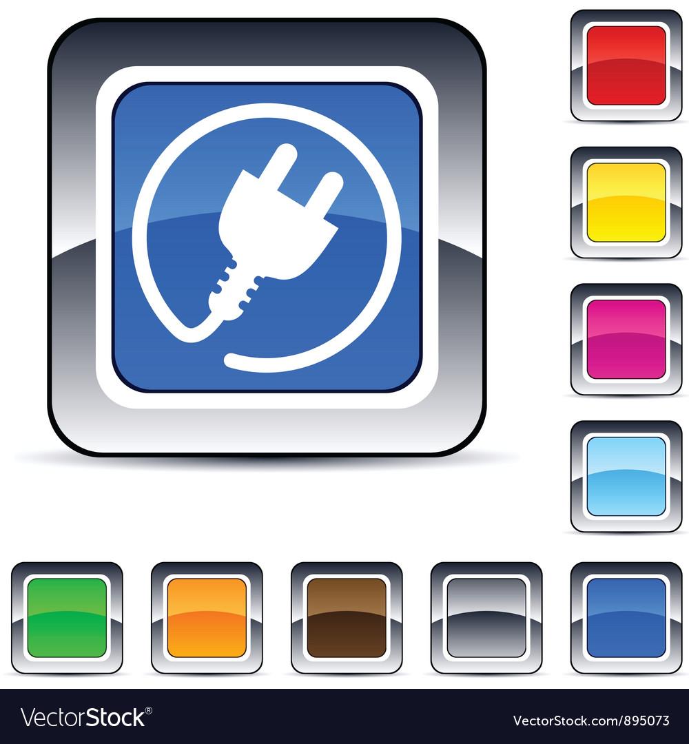 Power plug square button vector image