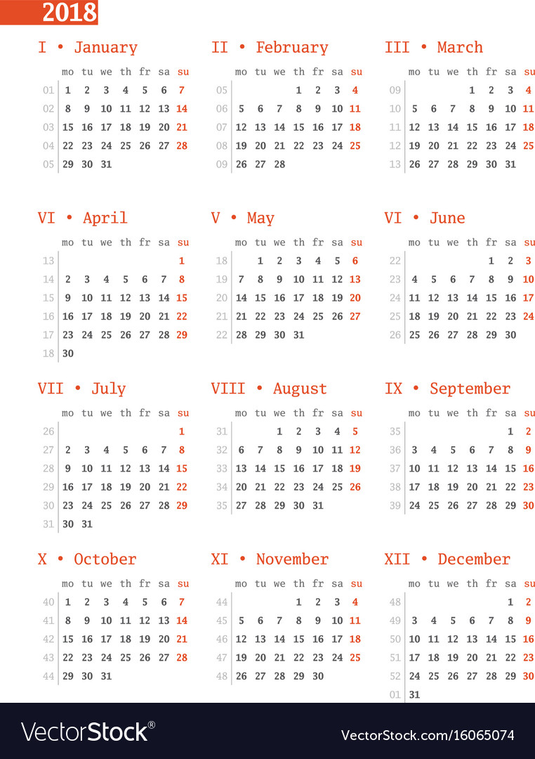 Calendar for 2018 year with week numbers on white vector image