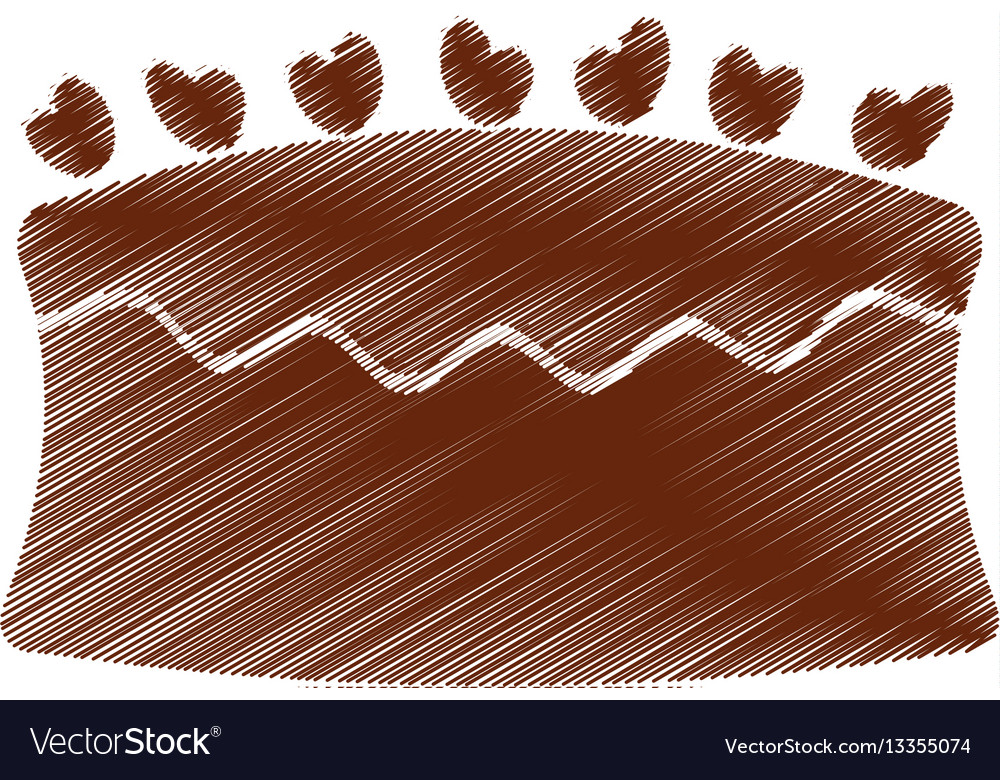 Drawing cake chocolate eating vector image
