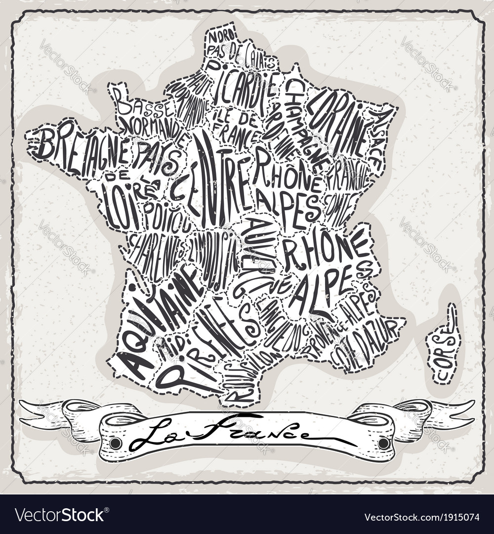 france map on vintage handwriting page royalty free vector
