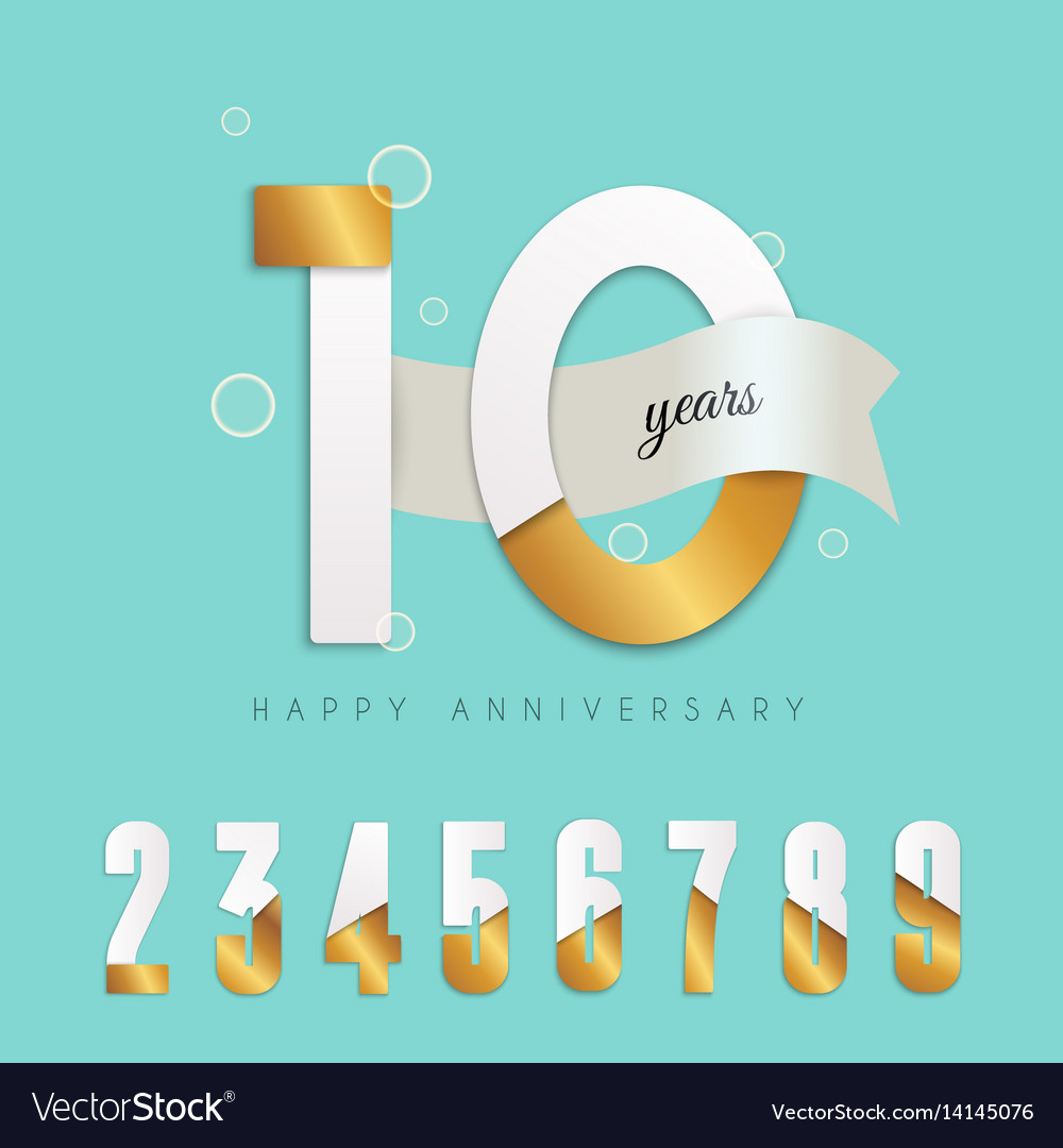 10 years anniversary emblem set of numbers vector image