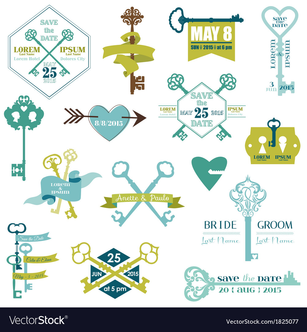Set of Wedding Cards and Save the date- Key Theme vector image