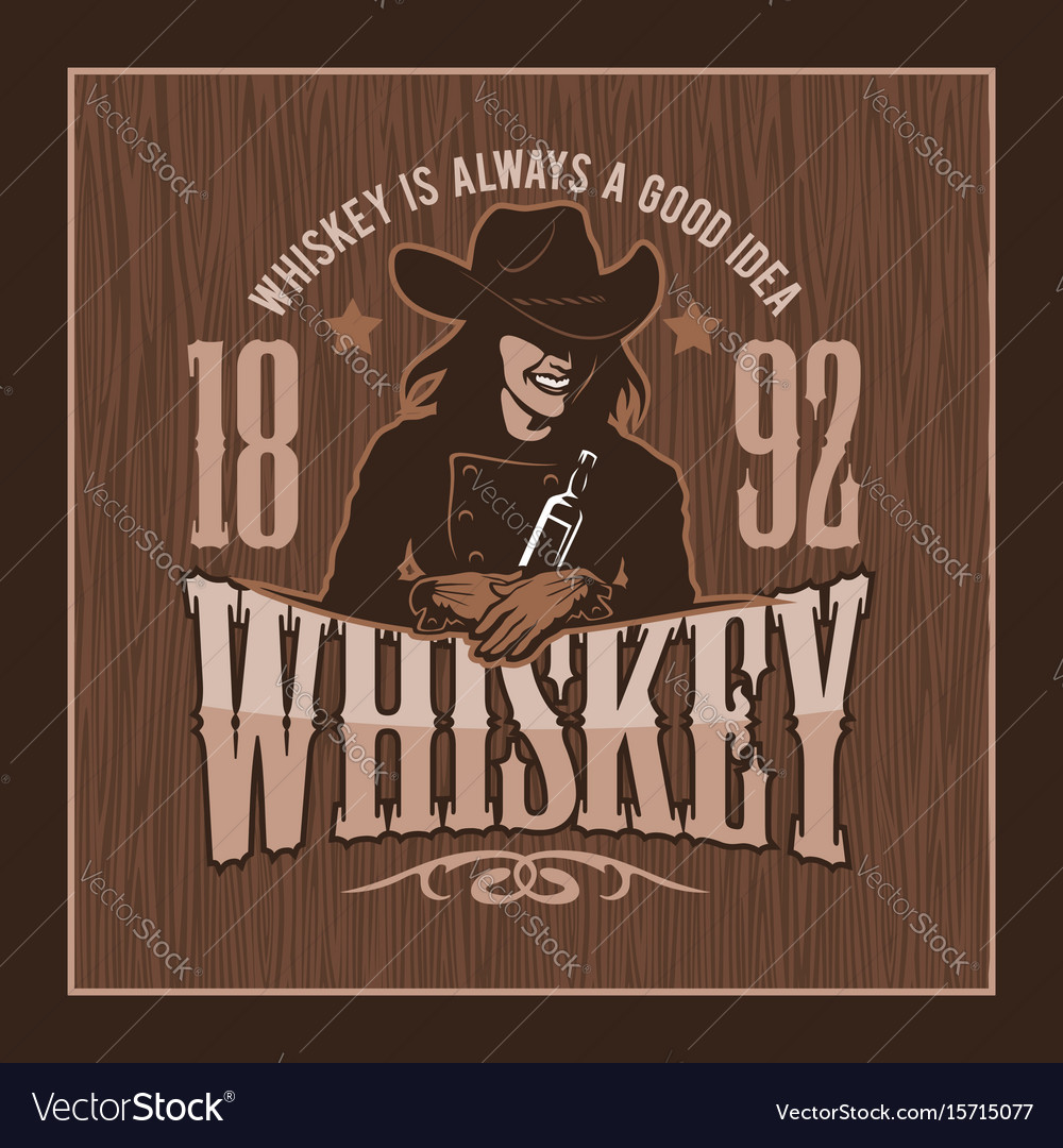 Vintage whiskey label with girl - t-shirt graphic vector image