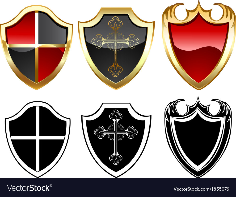 Three gold shield vector image