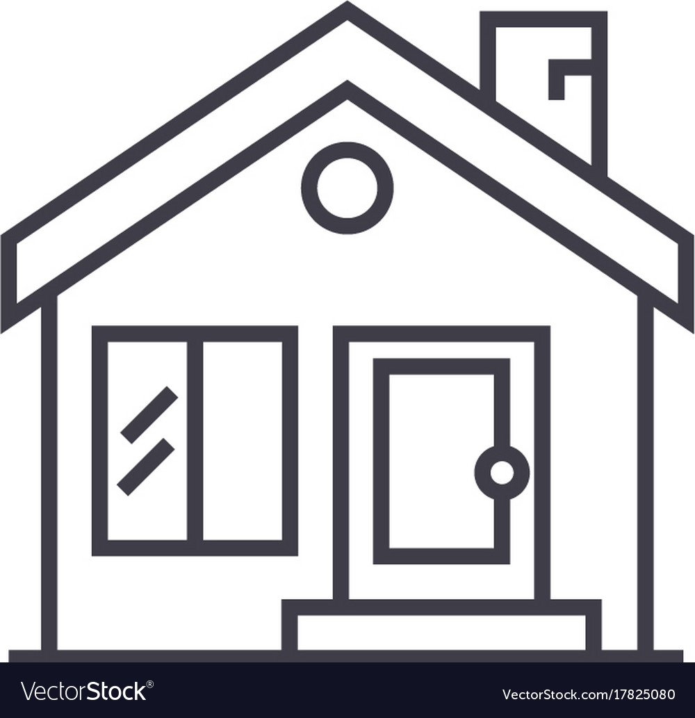 Cottage chimneyreal estate line icon vector image