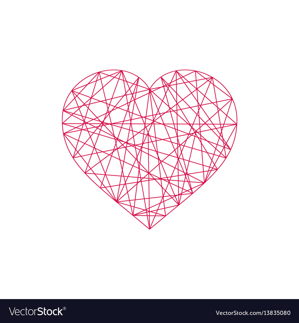 Geometric abstract linear heart icon vector image