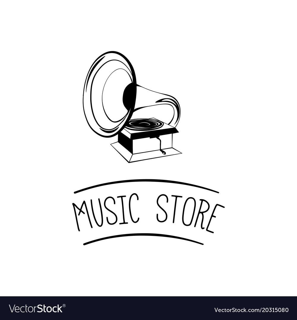 Old gramophone retro music music store vector image