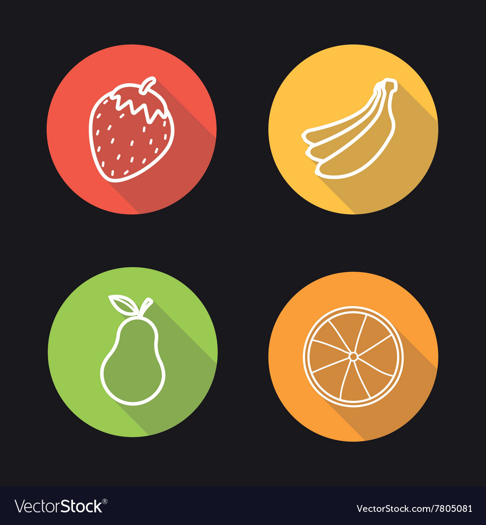 Fruits flat linear icons set vector image