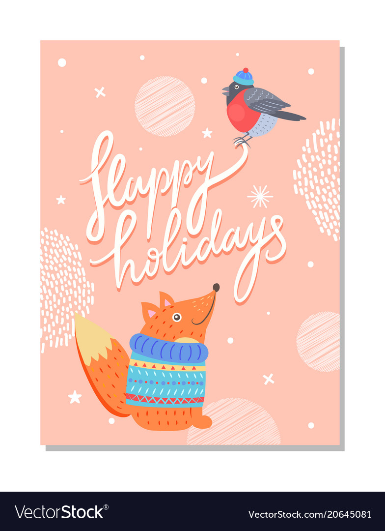 Happy Holidays Greeting Card With Squirrel Sweater