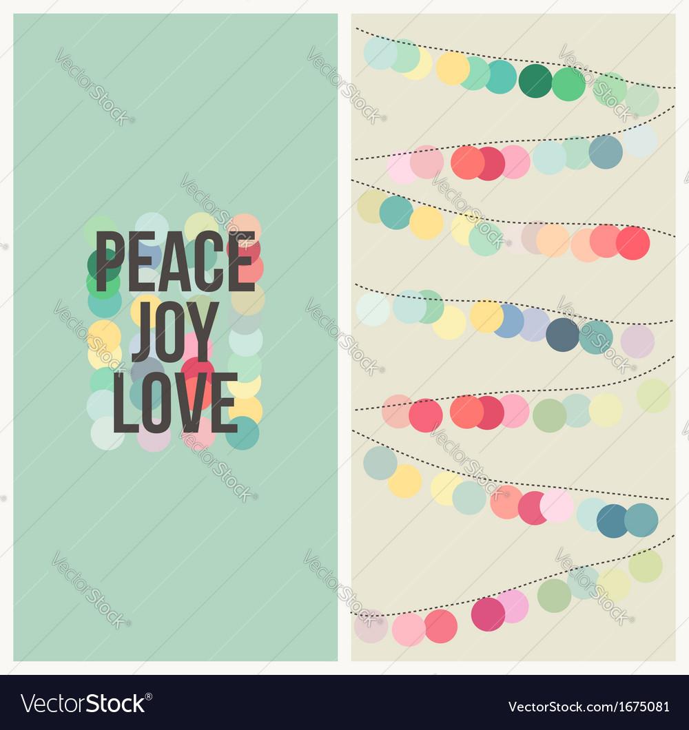 Peace love joy - Multicolored Christmas design vector image