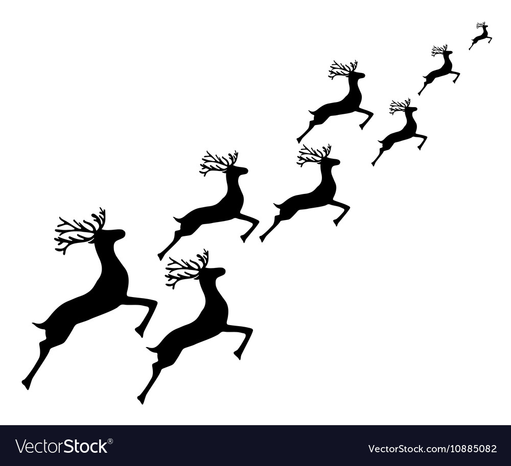Reindeer running on a white background vector image