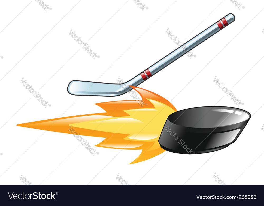 Flaming puck vector image