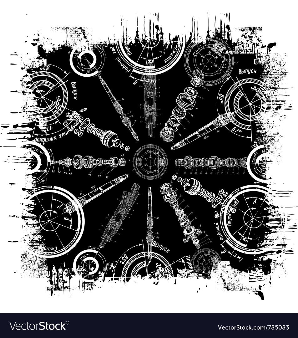 Grunge blueprint vector image