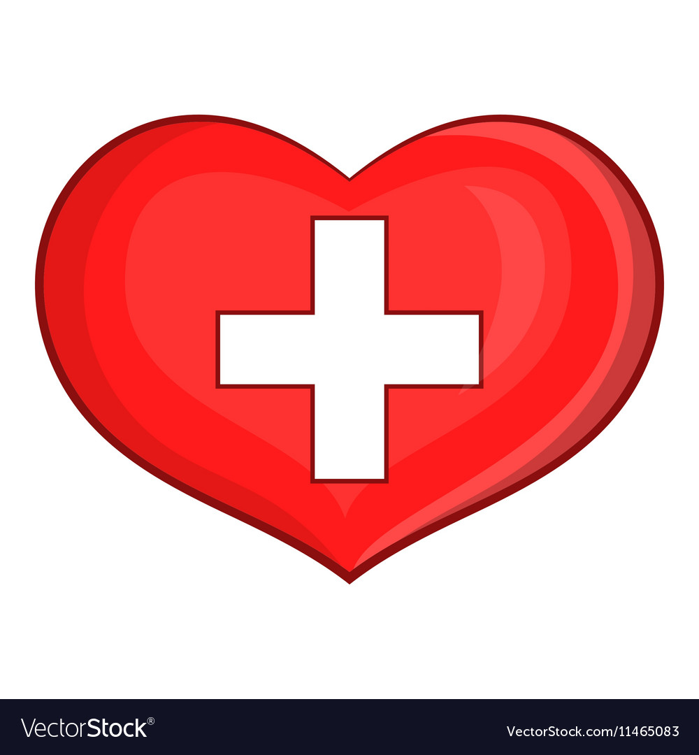 Heart with Swiss flag icon cartoon style vector image