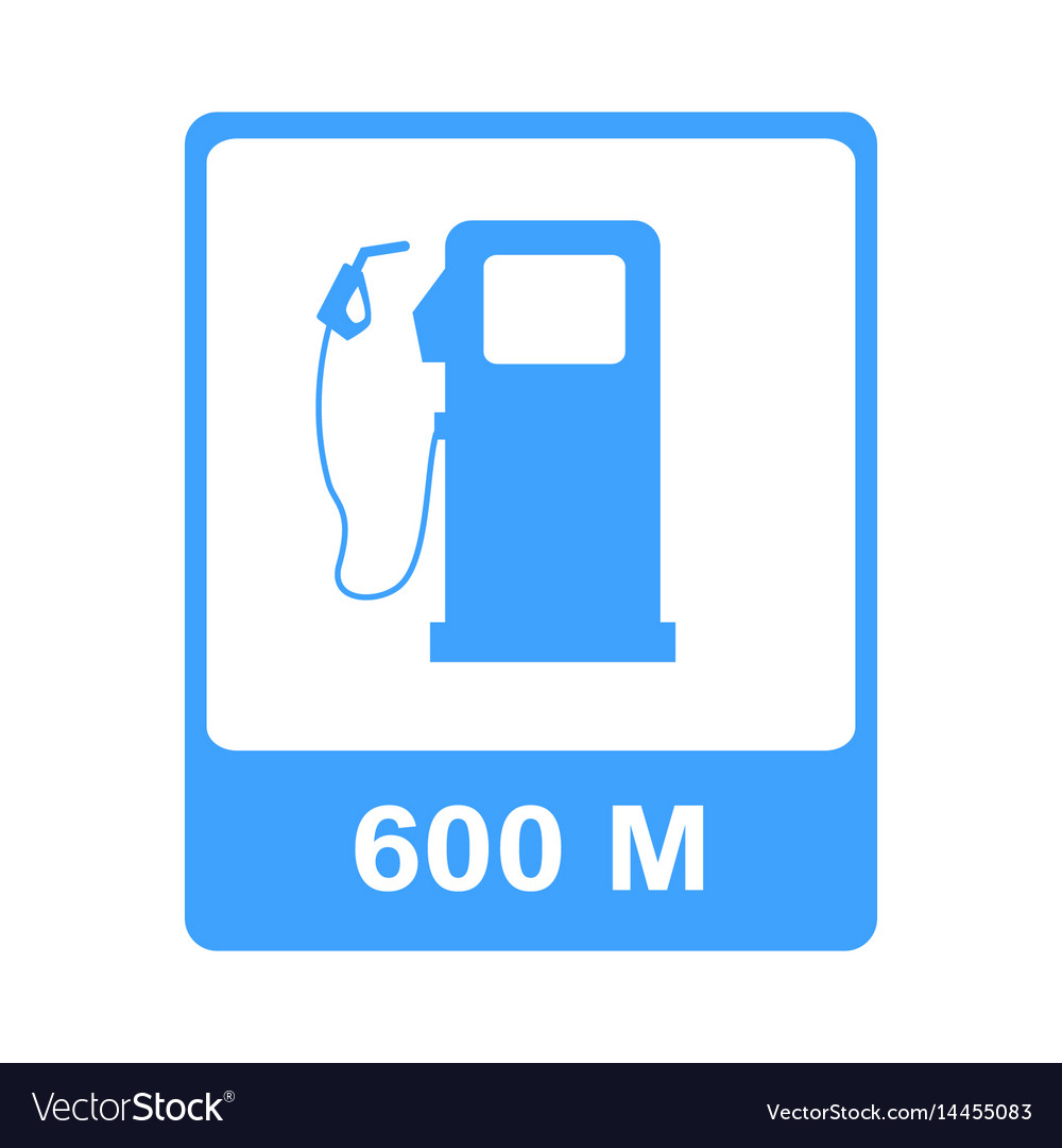 Road sign pointing on gas station vector image