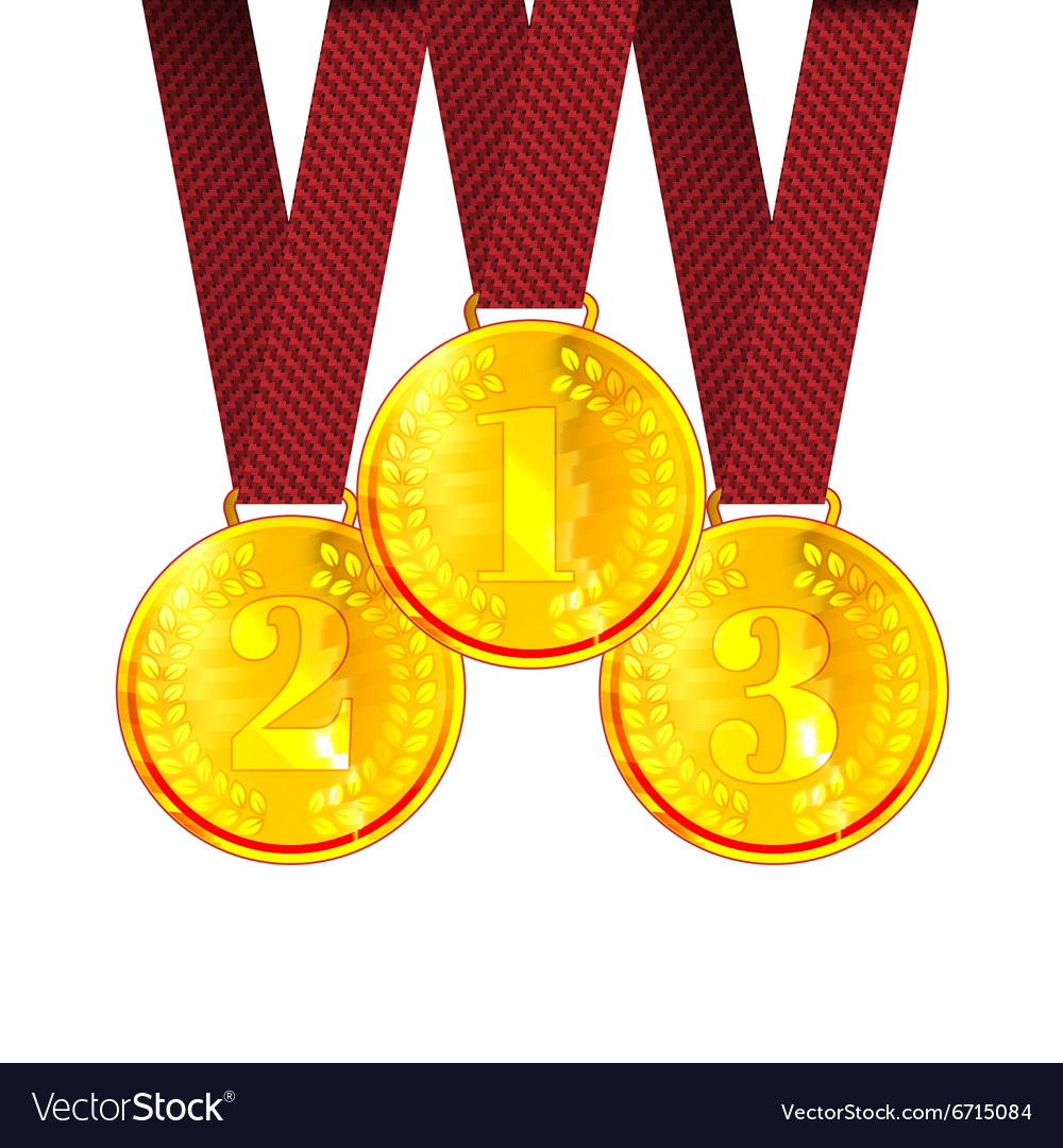 Gold the First Second and Third place Award vector image