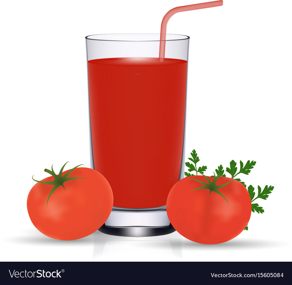 Set of tomato juice and fresh ripe tomatos vector image