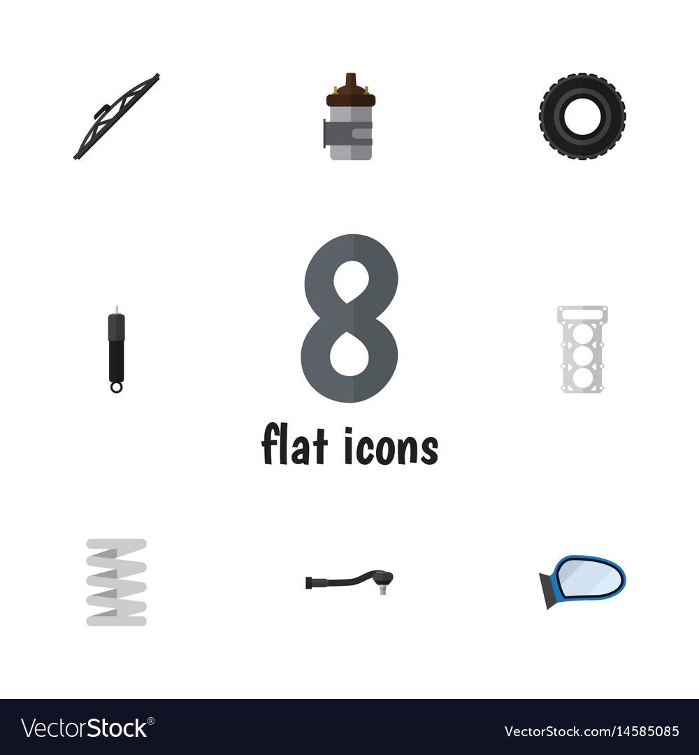 Flat parts set of windshield wheel input vector image