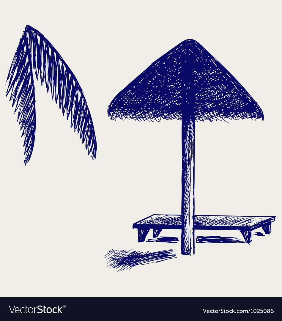 Beach chair and umbrella sketch - Palm Leaf Beach Umbrella Vector Image