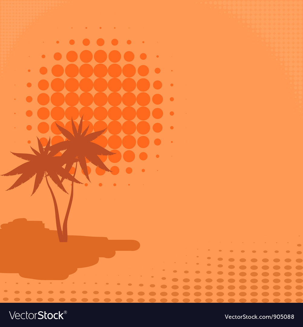 Background with palm trees and sun vector image