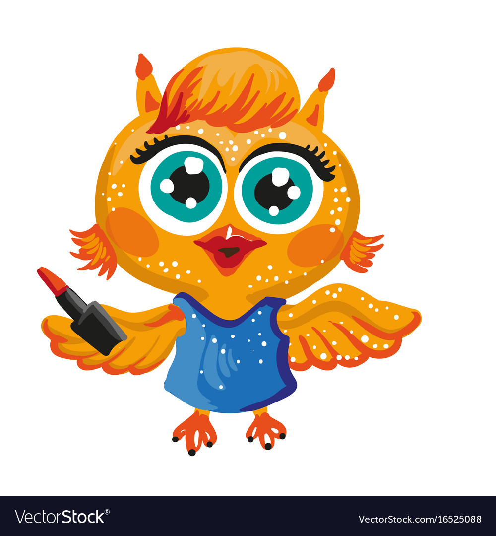 Cute owl cartoon character make up artist vector image voltagebd Image collections
