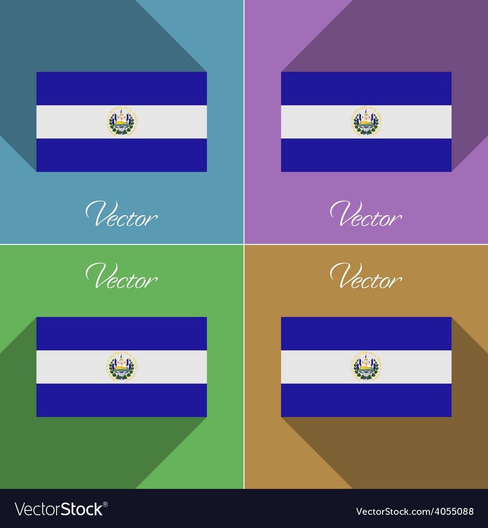 Flags El Salvador Set of colors flat design and vector image