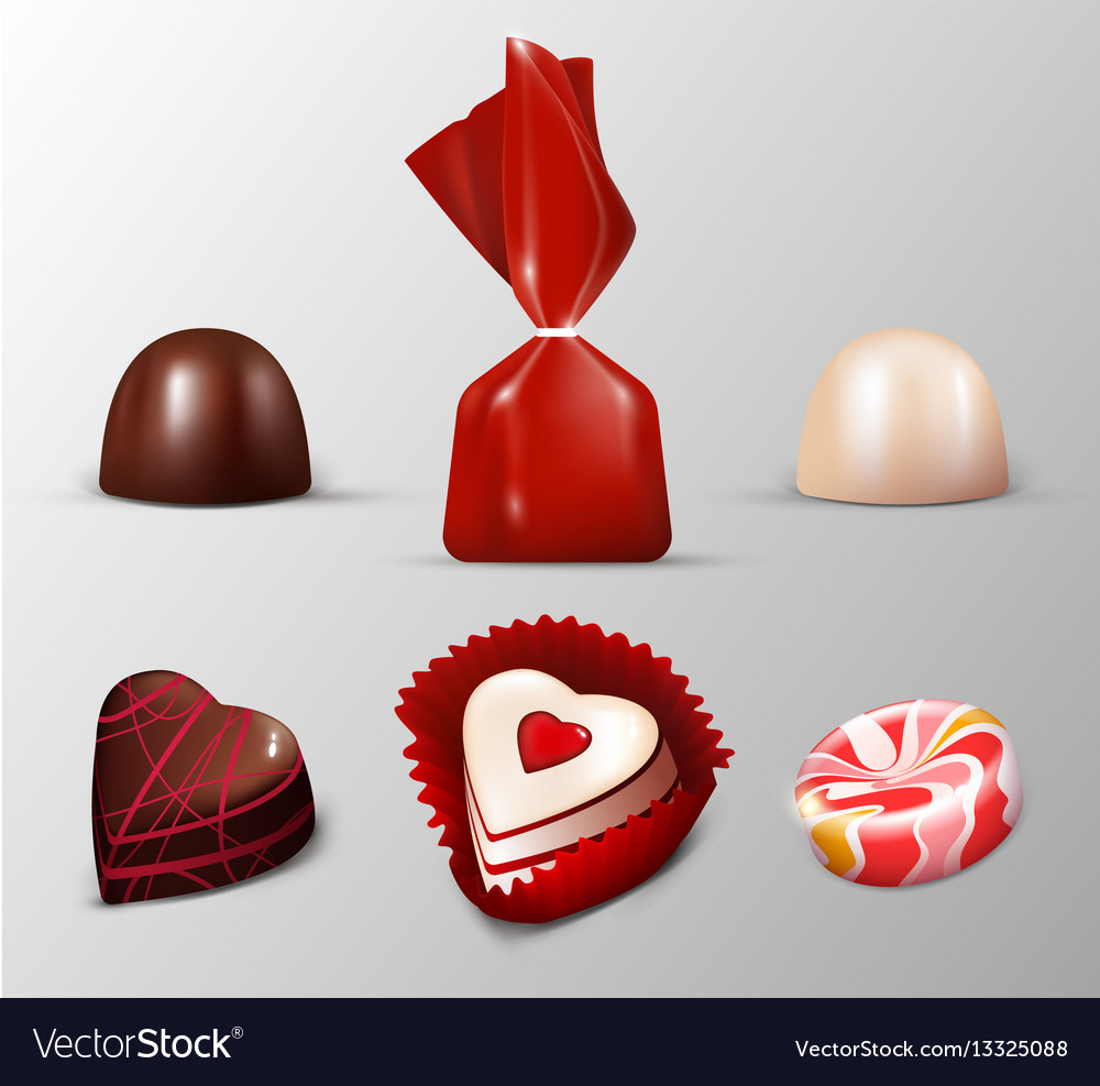 Realistic sweets collection vector image