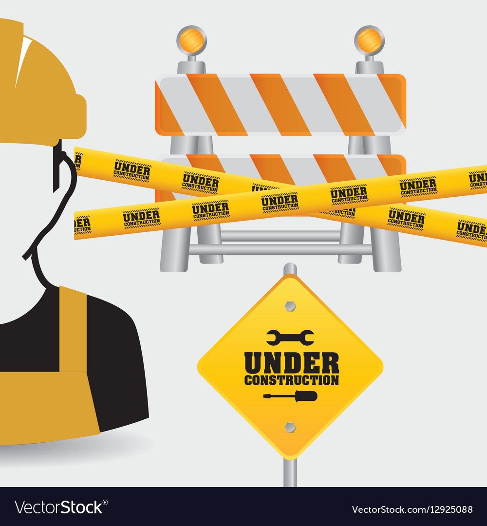 Worker tape under construction sing vector image