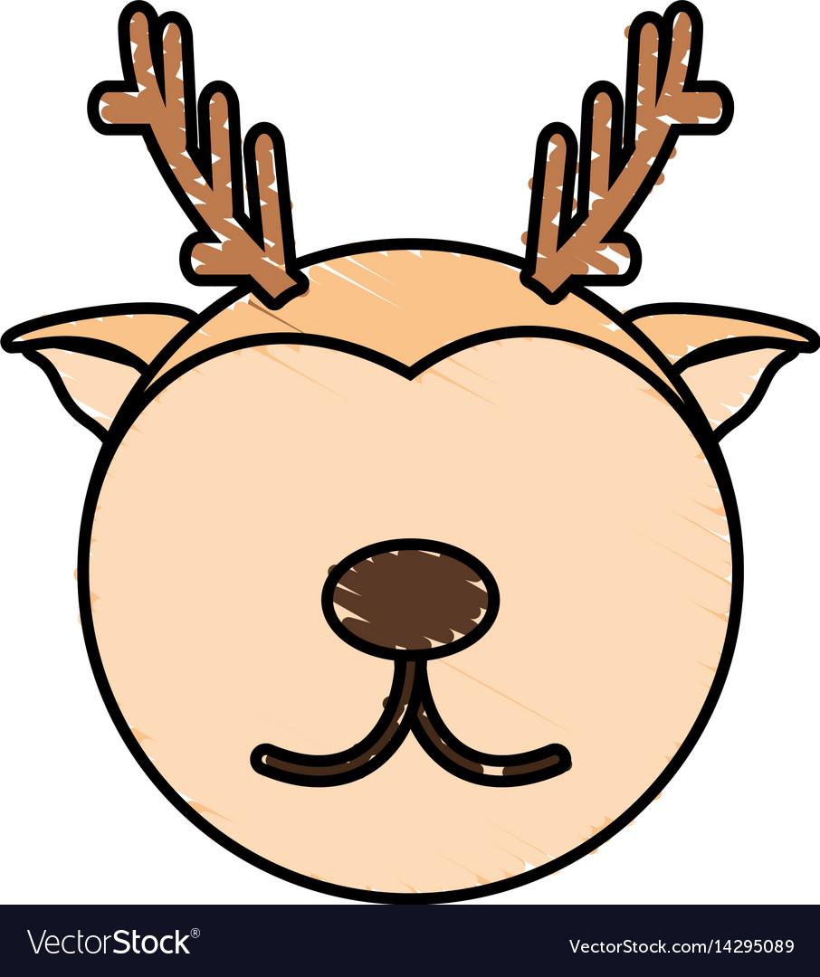 Drawing deer face animal vector image