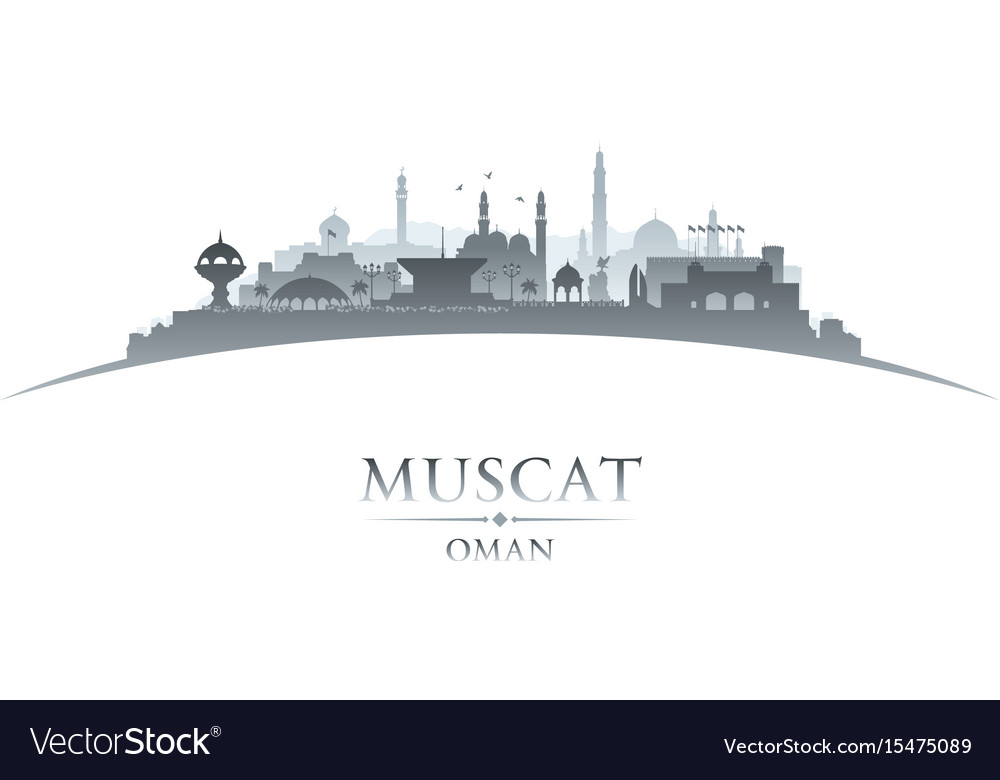 Muscat oman city skyline silhouette white vector image