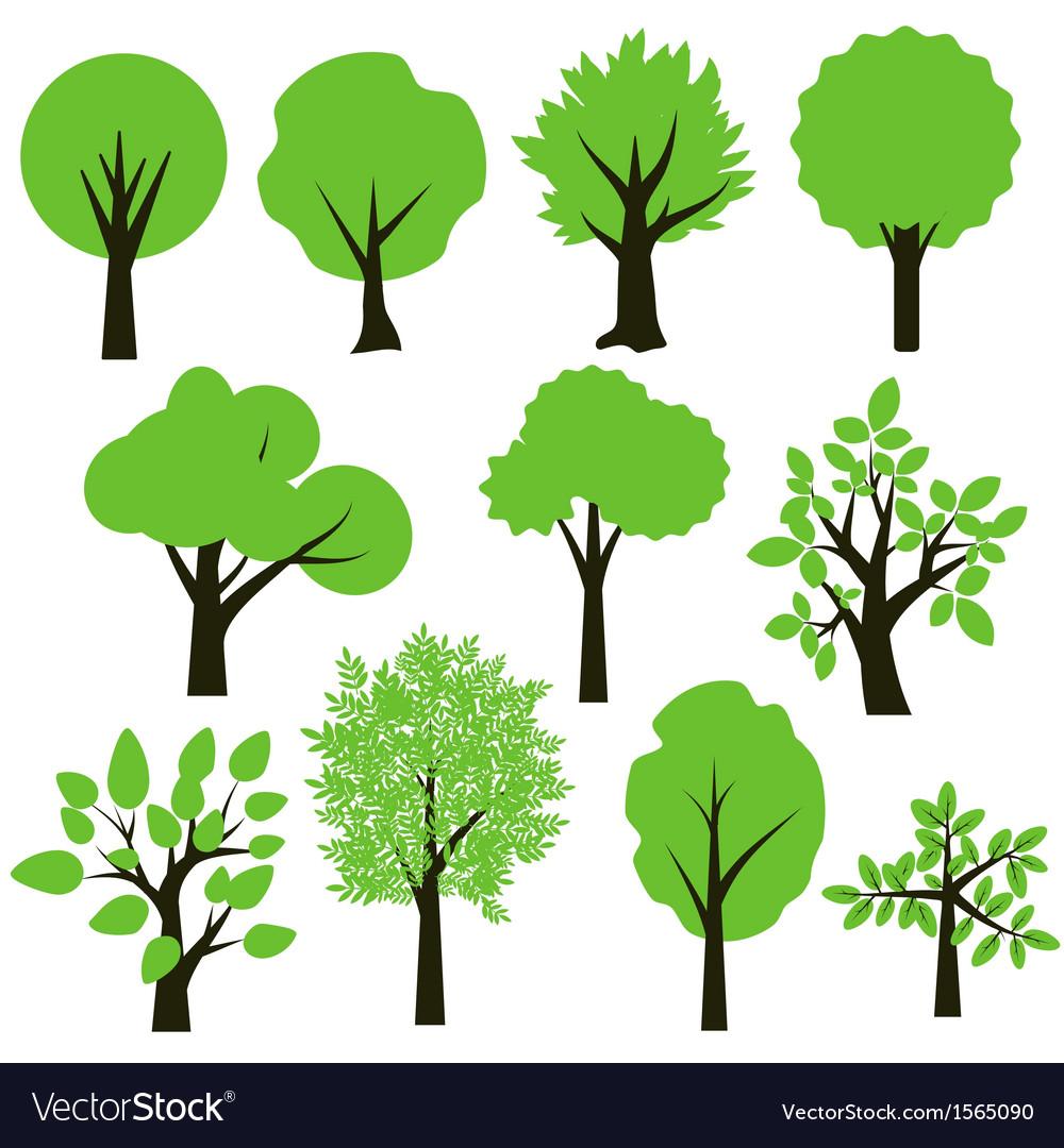 Trees set vector image